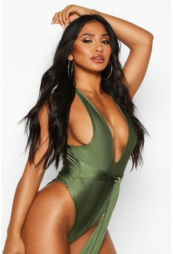 Khaki Tie Waist High Leg Swimsuit