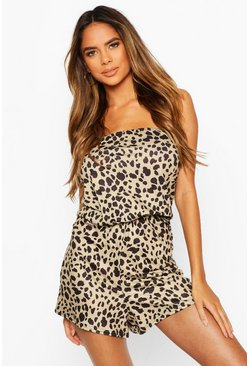 Brown Leopard Bandeau Beach Playsuit