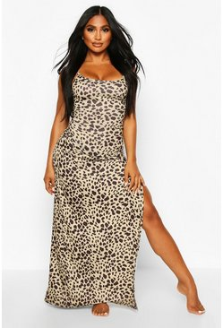 Leopard Jersey Split Leg Maxi Beach Dress, Brown, MUJER