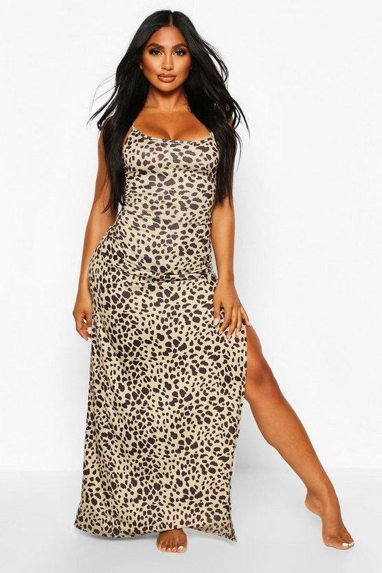 Leopard Jersey Split Leg Maxi Beach Dress