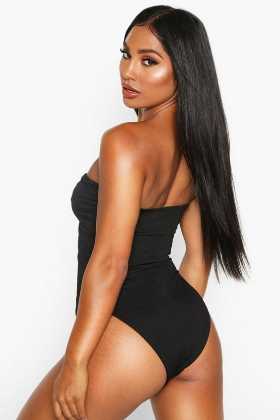 Textured Twist Front Cutout Swimsuit