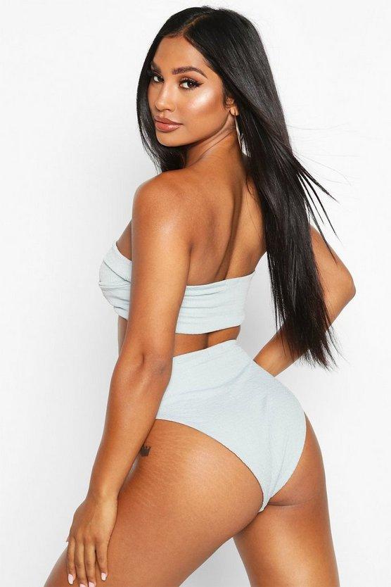 Textured Twist Front High Waist Bikini