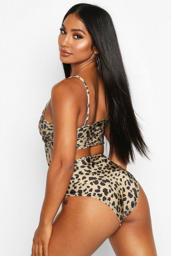 Leopard Tie Front High Waist Bikini