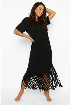 Womens Black Maxi Tassel Beach Dress