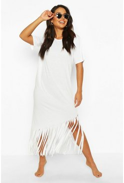 Womens White Maxi Tassel Beach Dress