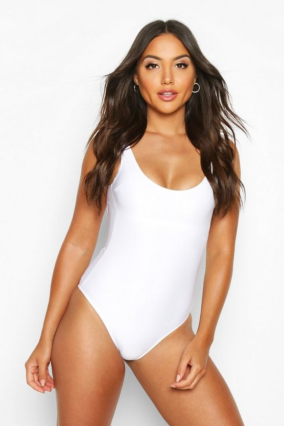 Womens White Scoop Front Swimsuit