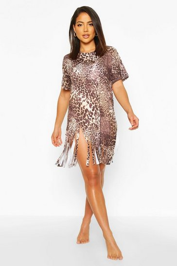 Brown Leopard Tassel Beach Dress
