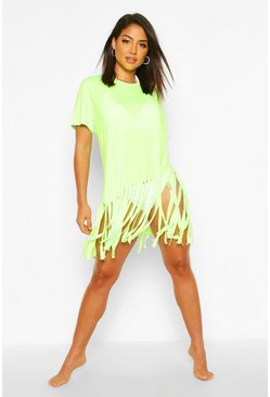 Neon-green Tassel Beach Dress