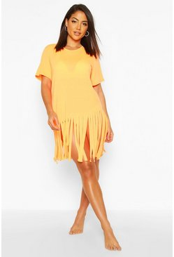 Neon-orange Tassel Beach Dress