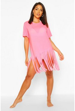 Womens Neon-pink Tassel Beach Dress