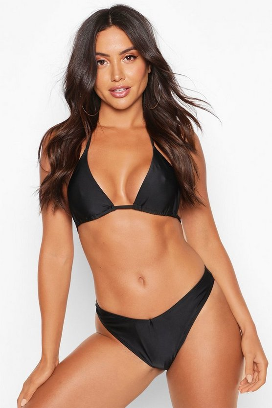 Womens Black Mix & Match Brazilian V Front Bikini Brief