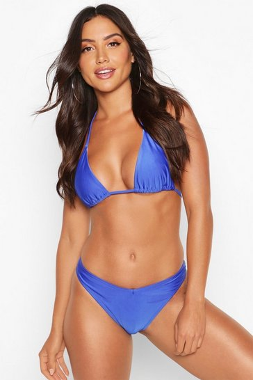Womens Blue Mix & Match Brazilian V Front Bikini Brief