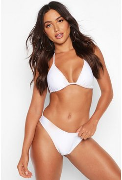 Womens White Mix & Match Brazilian V Front Bikini Brief