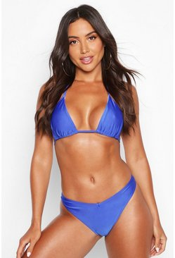 Blue Mix & Match Triangle Bikini Top