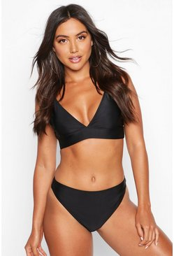 Womens Black Mix & Match Plunge Bikini Top