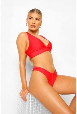 Red Mix & Match Plunge Bikini Top