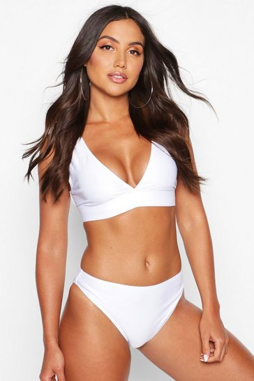 Womens White Mix & Match Plunge Bikini Top