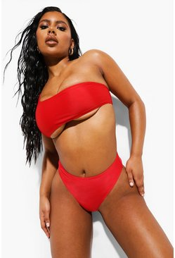 Womens Red Mix & Match High Waisted Bikini Brief