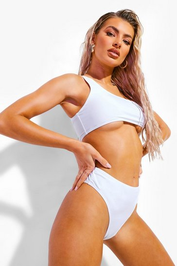 Womens White Mix & Match High Waisted Bikini Brief