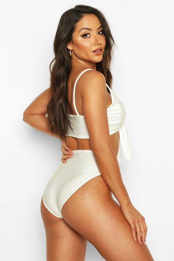 Tie Front High Waist Triangle Bikini