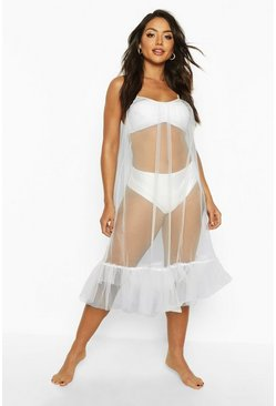 Womens White OTT Ruffle Organza Mini Beach Dress