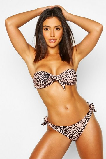 Womens Brown Leopard Print Moulded Bandeau Bikini