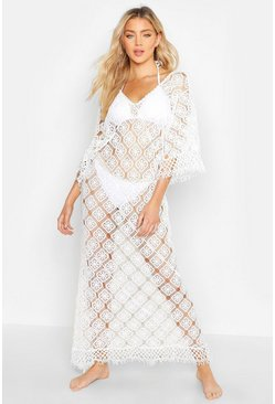 Womens White Knitted Crochet Maxi Beach Dress