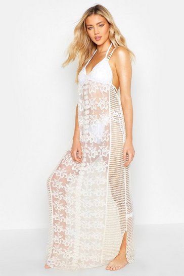 Womens Beige Crochet Lace Insert Beach Maxi Dress