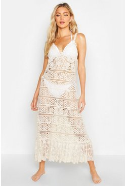 Womens Beige Crochet Maxi Beach Dress