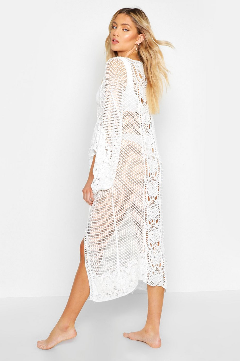 55ffae5056 Crochet Maxi Beach Kimono | Boohoo