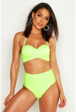 Womens Neon-lime Neon Underwired High Waist Bikini