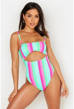 Womens Multi Mix & Match Stripe Cutout Swimsuit