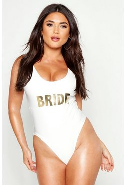 Womens White Bride Slogan Swimsuit