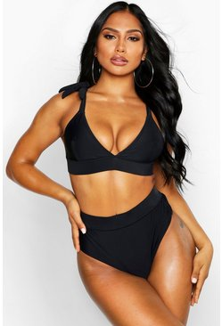 Womens Black Cut Out Triangle Bikini