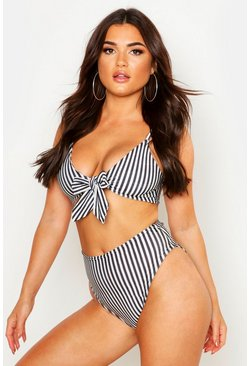 Womens Black Stripe Tie Triangle High Waisted Bikini