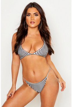 Womens Black Stripe Triangle Bikini