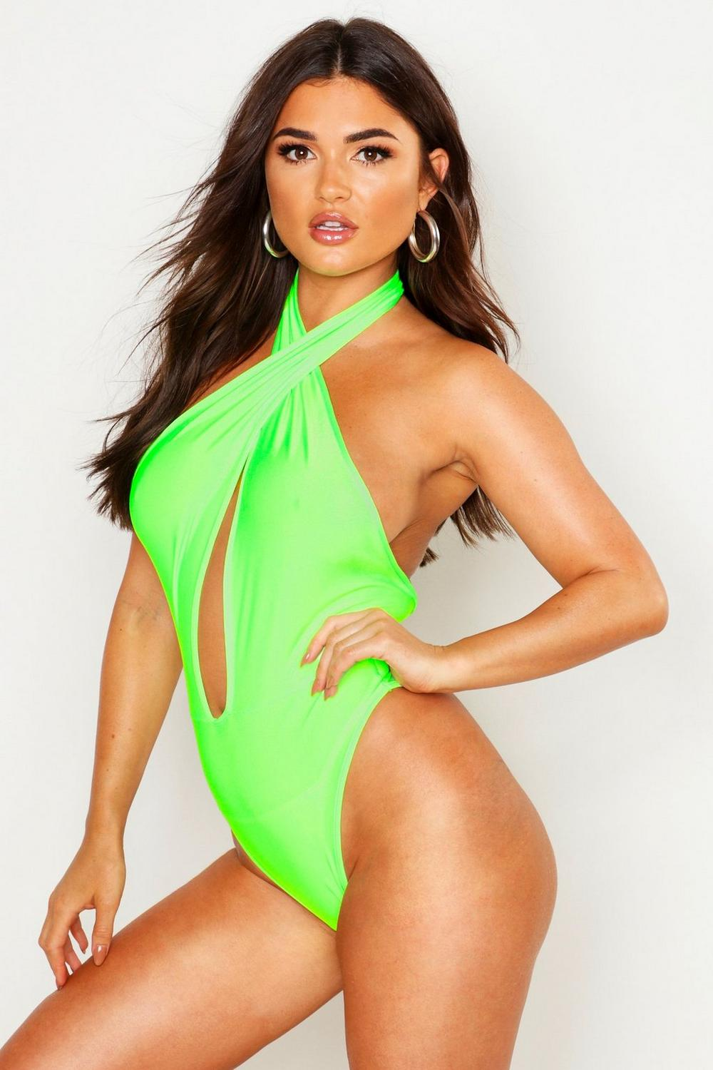 finest selection look good shoes sale new concept Neon Halterneck Plunge Swimsuit | Boohoo
