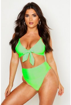 Womens Neon-green Neon Tie Triangle High Waisted Bikini