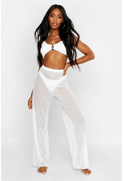 Womens Ivory Mesh Beach Trouser