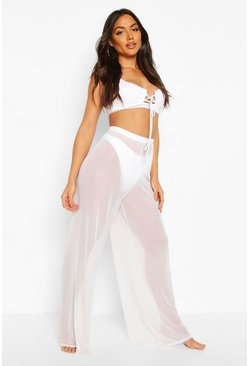 Womens White Mesh Beach Trouser