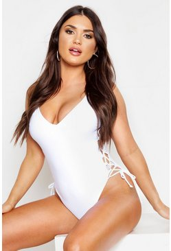 Womens White Lace Up Side Swimsuit
