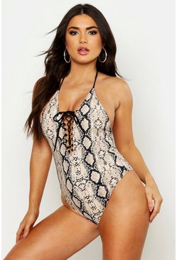 Womens Beige Snake Print Lace Up Front Swimsuit