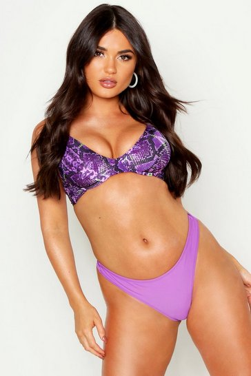 Womens Purple Mix & Match Thong Bikini Brief