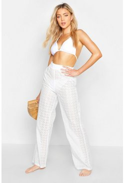 Womens White Broderie Anglaise Beach Trousers
