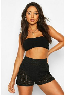 Black Broderie Angalise Beach Shorts