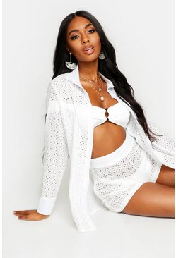 White Broderie Anglaise Beach Shirt