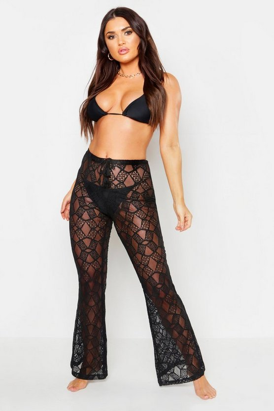 Womens Black Lace Beach Trousers