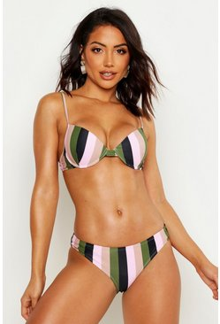 Bikini School push-up con ferretto a righe, Rosa, Femmina