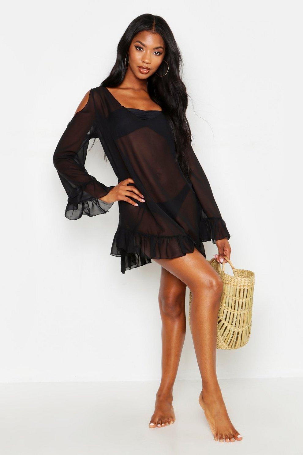 dc156d6f9c Womens Black Chiffon Open Shoulder Beach Dress