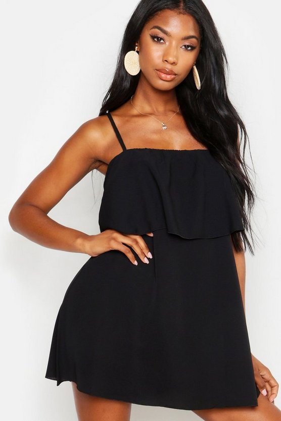 Womens Black Strappy Double Layer Beach Sundress